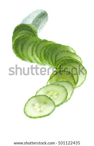 Focus play with a cucumber slices on white
