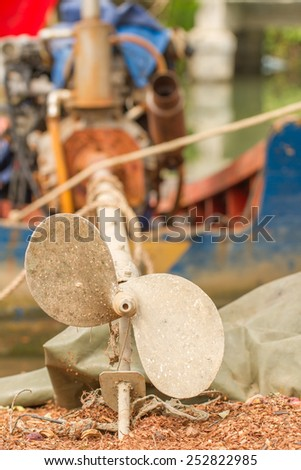 Focus the old metal screw of the ship of silvery color - stock photo