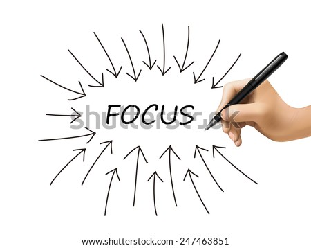 focus word and arrows drawn by 3d hand over white - stock photo