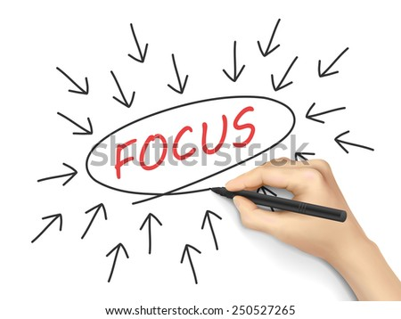 focus word with arrows written by hand on white background - stock photo