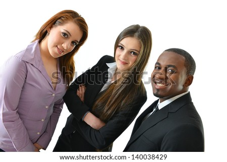 Focused and happy business team - stock photo