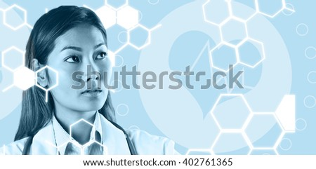 Focused asian woman thinking against medical icon - stock photo
