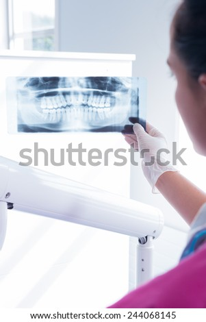 Focused assistant studying x-rays at the dental clinic