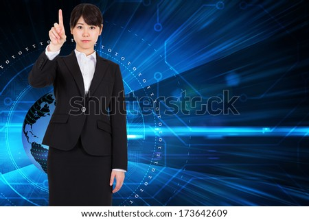 Focused businesswoman pointing against steps leading to open door in the sky - stock photo