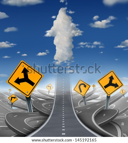 Focused determination success concept with a road or highway going forward away from a group of confusing distractions fading into the sky as clouds shaped as an upward arrow for business freedom. - stock photo