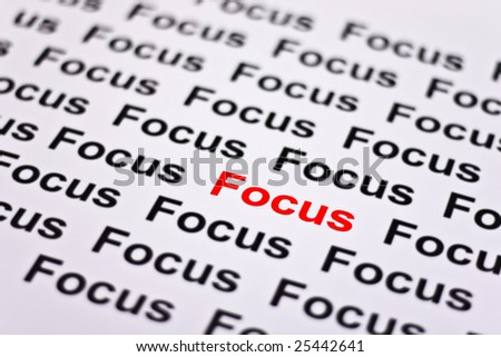 Focused on Focus highlighted in red - stock photo