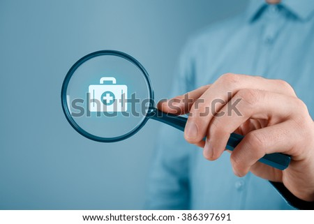 Focused on medical (health) and life insurance concept. Insurance agent with icon of nurse briefcase. - stock photo