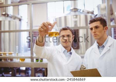 Focused scientist team looking at beaker in the factory - stock photo