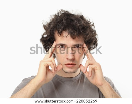 Focused Young Man Portrait. - stock photo