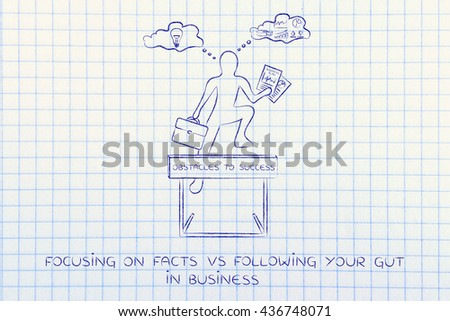 focusing on facts vs following yyour gut: businessman overcoming obstacle by elaborating creative thoughts (right side of his brain) and analytical reasonings (his left side) - stock photo