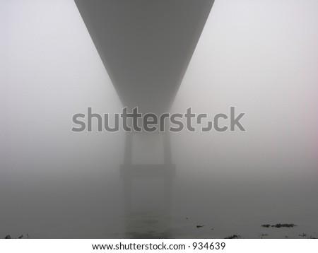 Fog and Bridge - stock photo