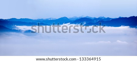 fog and cloud mountain landscape - stock photo