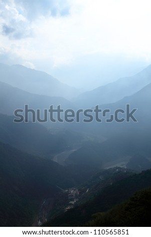 fog and cloud mountain valley landscape, Taoyuan,Taiwan - stock photo