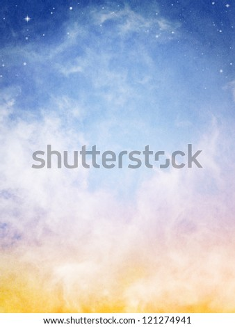 Fog and clouds looking up into a fantasy night sky with stars.  Image has a pleasing paper texture when viewed at 100%. - stock photo
