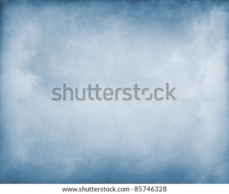 Fog and clouds on a blue paper background.  Image displays a pleasing paper grain and texture at 100%. - stock photo