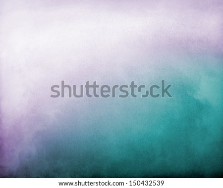 Fog and clouds on a purple to turquoise textured gradient background.  Image displays a distinct paper grain and texture at 100 percent.  - stock photo