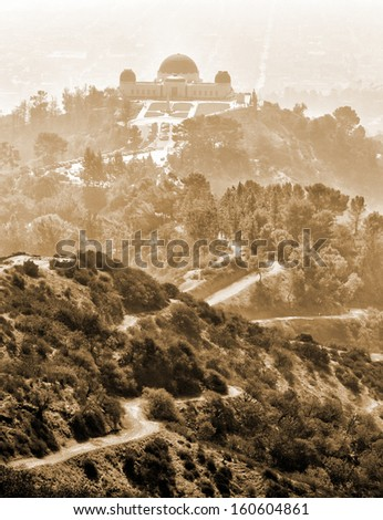 Fog and heat by the Griffith Park Observatory in Los Angeles.  - stock photo