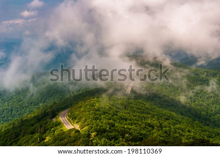 Fog and low clouds over Skyline Drive, seen from Little Stony Man Cliffs in Shenandoah National Park, Virginia. - stock photo