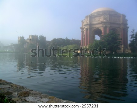 Fog at San Francisco Exploratorium gives it an otherworldly atmosphere of a romantic watercolor painting. - stock photo