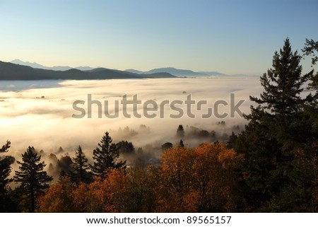 Fog blankets the Fraser Vaelley near Vancouver, British Columbia. - stock photo