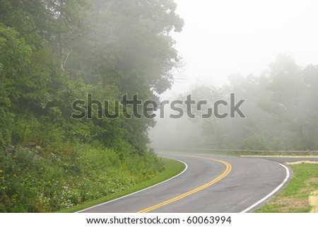 fog in a mountain road