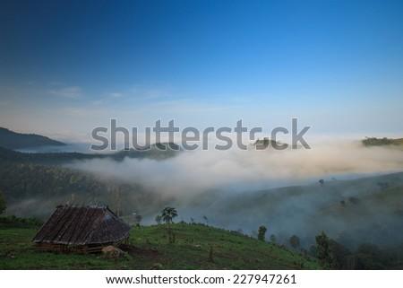 Fog in mountain - stock photo