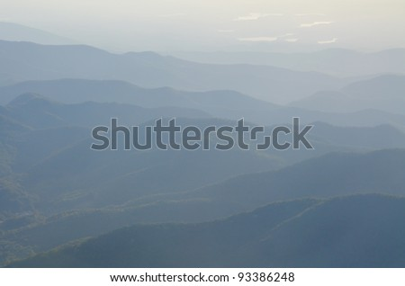 fog in the Appalachian Mountains from Mount Mitchell, the highest point in the eastern United States - stock photo