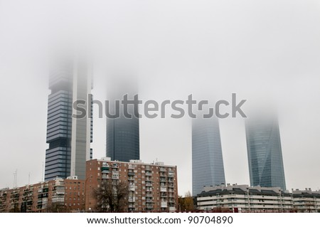 fog in the business area of Madrid