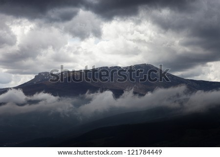 Fog in the Crimean mountains