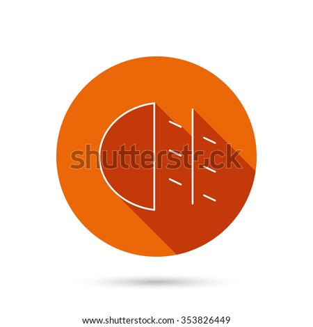Fog lights icon. Car beam sign. Round orange web button with shadow.