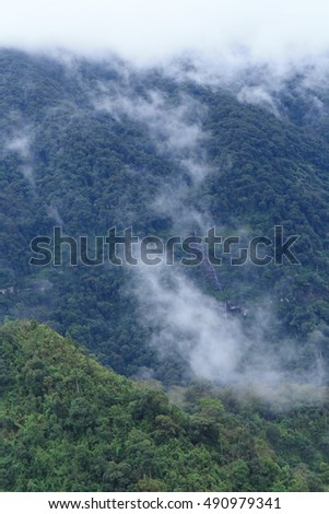 Fog, mountain and small waterfall at Phu soi dao National Park,Thailand