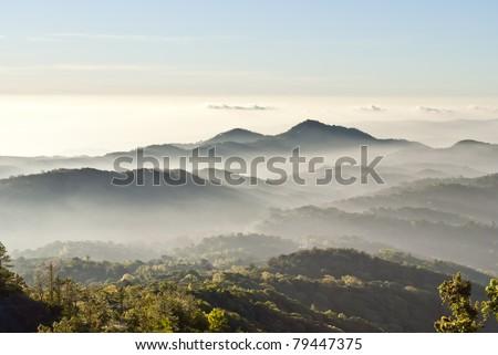 Fog on the mountain - stock photo
