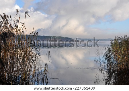 fog on the river, water, lake Yugla, Riga, Latvia - stock photo