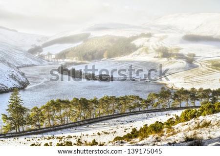 Fog over snowy hills - stock photo