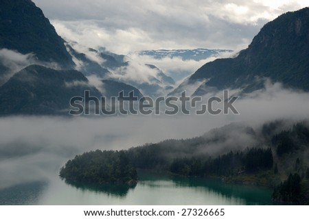 Fog over the Fjords. Norway