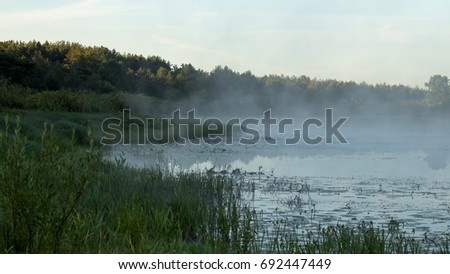 Fog over the water surface, morning freshness