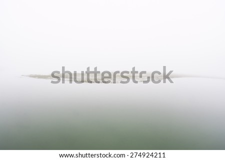 Fog settles over a salt marsh in a shallow bay on outer Cape Cod, Massachusetts. Marshes are ecologically vital to the environmental health of this region. They are habitat for a diversity of life. - stock photo