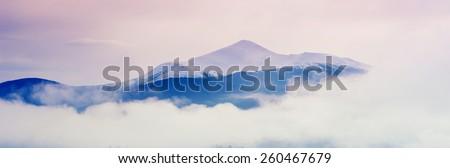 fogged mountains - stock photo