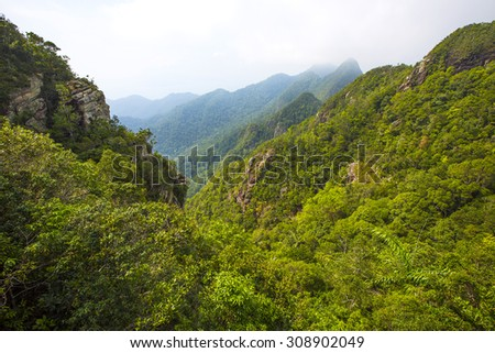 Foggy and lush mountain landscape at Langkawi in Malaysia - stock photo