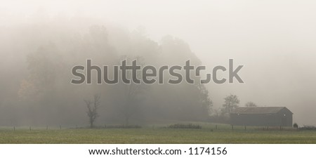 Foggy autumn morning in Cades Cove - Smoky Mountains Nat. Park, USA
