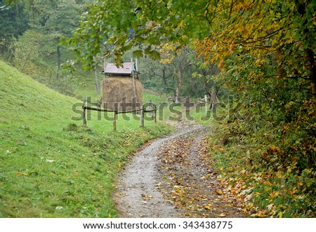 Foggy autumn morning in the mountains. Carpathian, Ukraine - stock photo