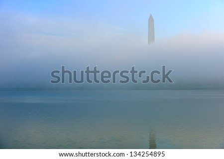 Foggy Cherry Blossom and Washington Monument, Washington DC, United States