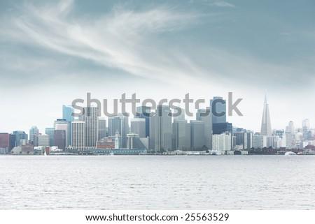Foggy downtown San Francisco - stock photo
