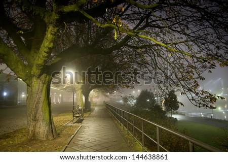 foggy Frankfurt - stock photo