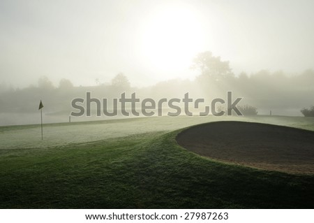 Foggy Golf Bunkers - stock photo