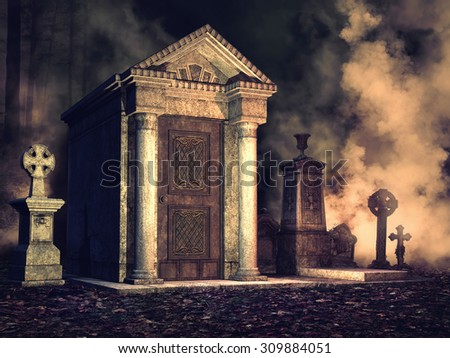 Foggy graveyard with crosses and an old crypt at night - stock photo