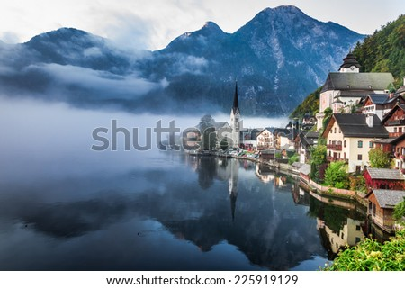 Foggy Hallstatt in autumn - stock photo