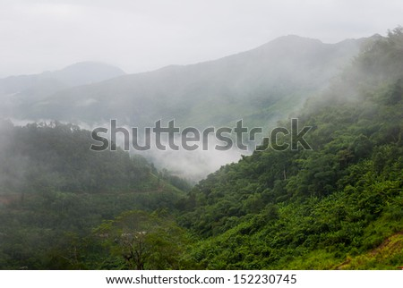 Foggy hills - mountains landscape mist - mist and mountain - stock photo