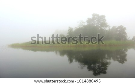 Foggy morning. Aland Islands, Finland