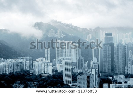 Foggy morning in Happy Valley, Hong Kong - stock photo